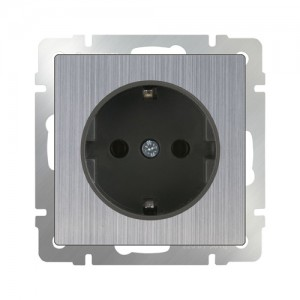 Розетка с заземлением  (глянцевый никель)  Артикул: WL02-SKGS-01-IP20