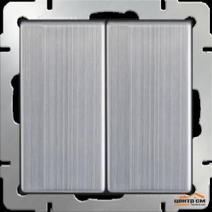 Выключатель двухклавишный c подсветкой  (глянцевый никель)  Артикул: WL02-SW-2G-LED