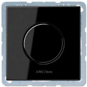 1730DD + LS1940SW  Jung Серия LS Светорегулятор поворотно-нажимной LED 3-60Вт и 20-210Вт для ламп накаливания   10А 250В Черный глянцевый