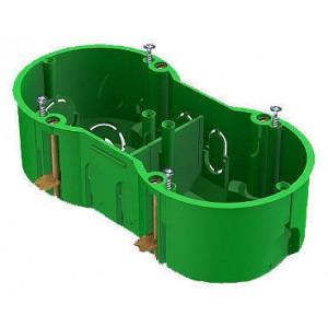 Коробка установочная 2-местная 40023, с металлическими зажимами, 141x70x45 GREENEL (Зеленый)