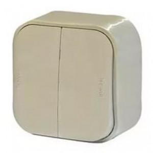 Блок-выключатель + розетка ОП с заземл. защ. шторки IP44 Legrand Quteo бел. Leg 782318