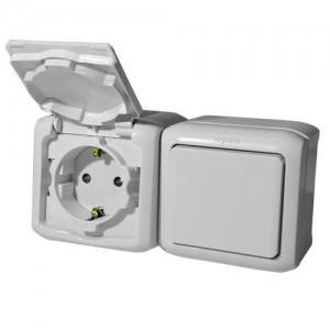 Блок-выключатель + розетка ОП с заземл. защ. шторки IP44 Legrand Quteo сер. Leg 782348