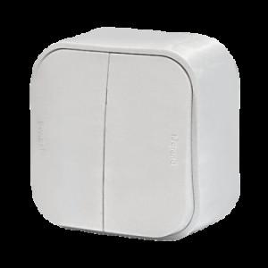 Выключатель 2-кл. ОП 10АХ Legrand Quteo белый. Leg 782202