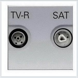 Телевизионная розетка TV-R/SAT оконечная ABB Niessen Zenit (серебристый)